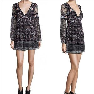 Free people black lace dress floral embroidered